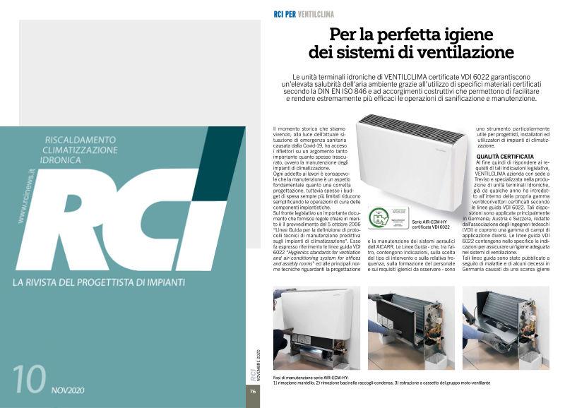 """Rivista RCI – Novembre 2020 """"La perfetta igiene dei sistemi di ventilazione"""""""